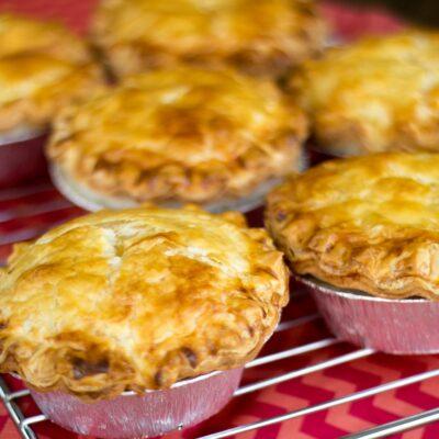 Roast chicken and veggie pies