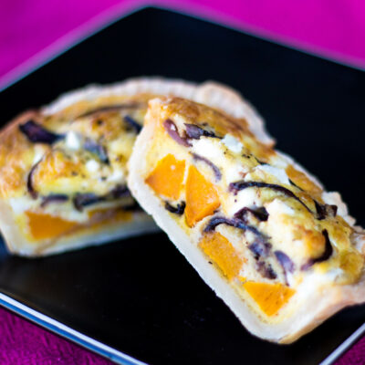 Roast butternut and caramelised onion quiche