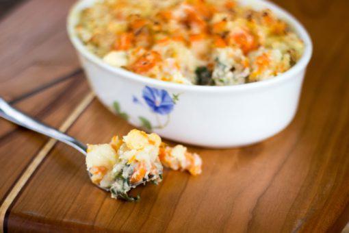 Creamy tuna and garden vegetable bake