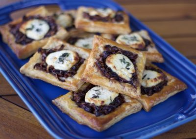Caramelized onion and goat's cheese tarts